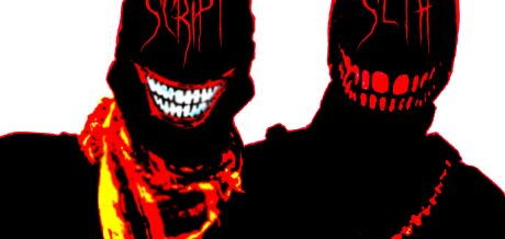 A coloured silhouette of Warcrimes' Seth and Script